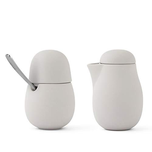 VIVA scandinavia 2-TLG Designer Milchkännchen & Zuckerdosen-Set für Kaffee und Tee aus Porzellan mit Edelstahl-Löffel -