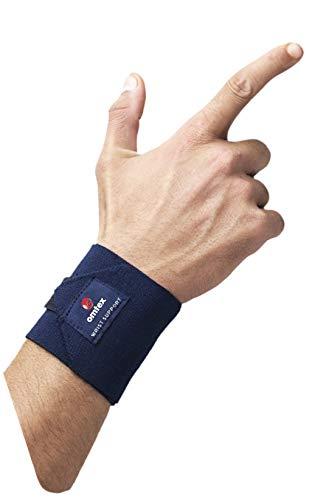 Omtex Adjustable Velcro Elasticized Fabric Wrist Support, Men's Free Size  Navy Blue