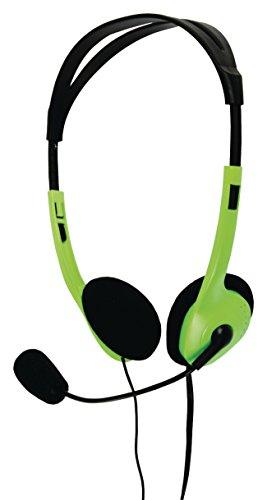Eurosell PC Computer Headset Kopfhörer Stereo Kopfbügel + Mikrofon flexibel + Lautstärkeregler 2 x 3,5mm Klinkenstecker Klinke grün Laptop Notebook etc.