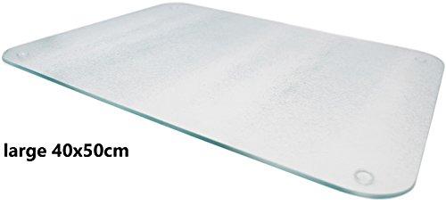Premium Glas Schneidebrett–Glas satiniert klar groß Arbeitsflächenschutz - 2