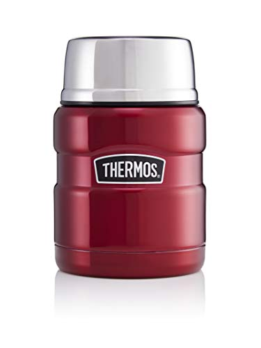Thermos Stainless King Food Flask, Gun Metal, 470 ml, Acciaio Inossidabile, Cranberry Red,...