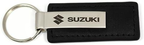 Suzuki Logo ETCHED BLACK LEATHER Keychain Chrome Key Fob Metal Lanyard Keyring by DanteGTS