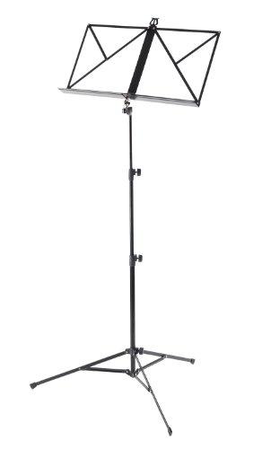 Classic Cantabile Notenständer mit Tragetasche (Höhenverstellbar 55-100cm, bodenschonende Kunststofffüße, stabil, sehr leicht, Schwarz)