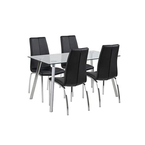 Elegant Danish Design Glass and Chrome Table with 4 Imitation Leather Chairs in Black and Chrome, Great value bundle also available separately (Pair of Asama Chairs)
