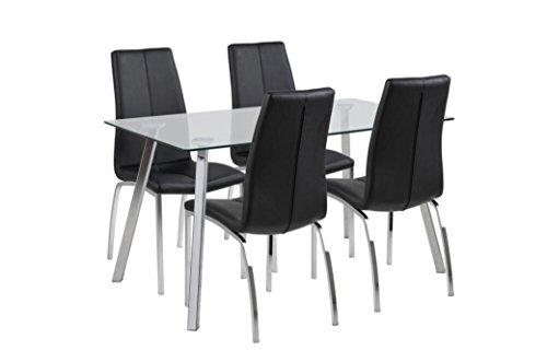 Design danese elegante in vetro e cromo da tavolo con 4sedie in similpelle in nero e cromo, great value bundle disponibili anche separatamente, pair of asama chairs