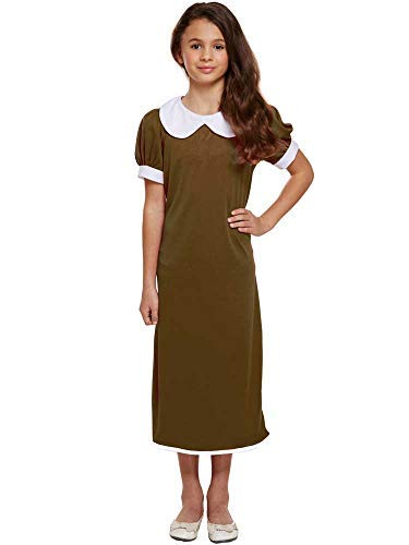 GIRLS BROWN 1940S SCHOOL GIRL COSTUME - LARGE (10 - 12 YEARS) -