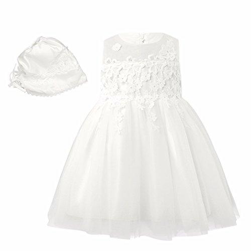 FEESHOW Baby Mädchen Kleider festlich Taufkleid Hochzeit Ärmellos mit Strickerei Tüllkleid mit Mütze Gr.3-24 Monate Elfenbein 62 (Spitze Gestickte Kleid Taufe)