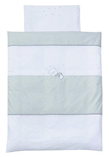 Easy Baby 815-30 Parure de lit avec broderie de qualité motif Vichy Bear, 80/80 Plus 35/40, Grey