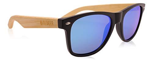Aldeea Bambus-Sonnenbrille mit Brillen-Etui, polarisiert - UV400 - verschiede Farben und verspiegelte Gläser, mit Bügeln aus Bambus | UV-Schutz (Blau-Blue)