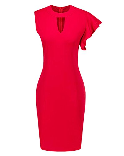 Auxo Sexy Femme Profondément V Creux Sans Manche Irrégulier Partie Zipper Mini Robe de Cocktail Rouge