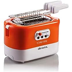 Ariete 159 Grille-pain 2 tranches avec pinces, tiroir ramasse-miettes Blanc/orange