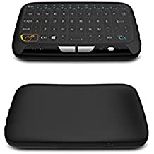 Mini teclado inalámbrico Touchpad Ratón y mando a distancia con gran superficie táctil para Windows PC, Android TV Box, XBMC, Kodi, HTPC, IPTV, PC, PS3, PS4, MacBook, Xbox 360, Raspberry Pi 3, NVIDIA Shield TV, Windows 2000/XP/Vista/7/8/10