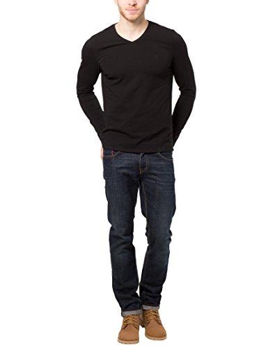 James Tyler Herren Langarmshirt mit V-Ausschnitt Schwarz (Schwarz)