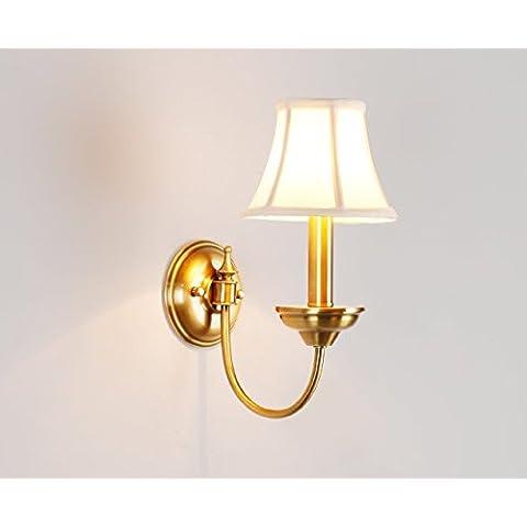 Country americano rame lampada lampada da comodino continentale Salone minimalista specchio lampada singola testa lampada da parete,Doppia testa