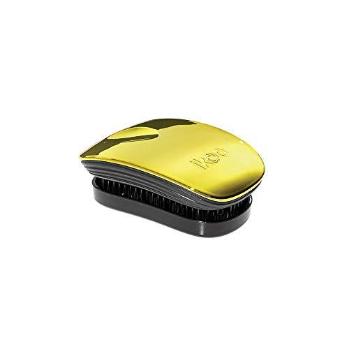 ikoo Pocket Black Metallic - Detangler Bürste, Haarbürste für die Handtasche, Brush, weiche Borsten, Entwirrbürste für lange Haare, Massage Wet Brush, Entwirrungsbürste, einfaches Entwirren der Haare - Pocket Hair Brush