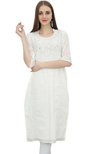 Bimba Frauen Weiss Georgette Besticktes Kleid Kurti Indian Kurta Clothing-44 -