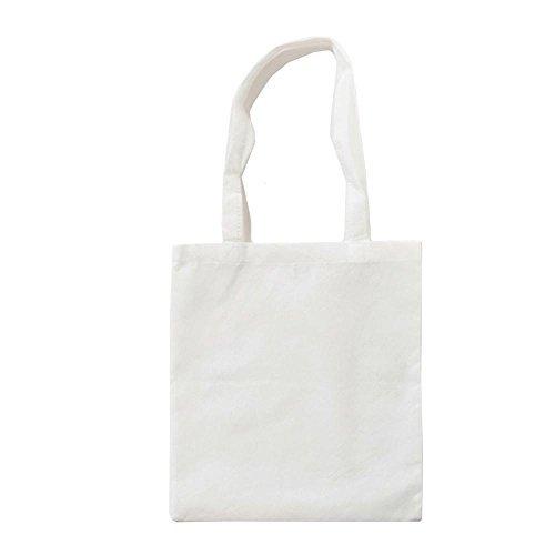 White Canvas Tote Bag (XT003 - Baumwolltasche farbig, zwei lange Henkel / Weiß, ca. 38 x 42 cm)