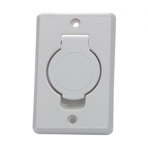 Saugdose rechteckig mit rundem Deckel Farbe Weiss, Zentralstaubsauger Steckdose, 78x123mm, 2 Kontaktstifte, Öffnung 36-38mm