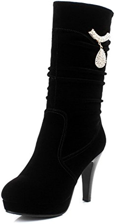 AllhqFashion Damen Nubukleder Mitte-Spitze Rein Ziehen auf Hoher Absatz Stiefel