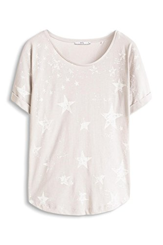 edc by ESPRIT Damen T-Shirt 996cc1k902 - mit Print Grau (LIGHT GREY 040)