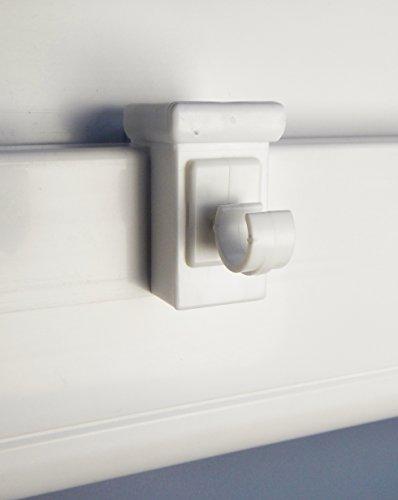 10 ganci per finestra, adatti per decorazioni, di colore bianco; spessore della finestra: 10 - 27 mm, ideali per aste per tende fino a 10 mm di diametro