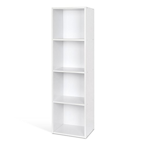 HOMFA Landhaus Bücherregal Bücherschrank 4 Nischen Standregal Aktenregal Bücher Regal Akten Schrank Universal Regal Weiß (Weiß 4 Nischen) (4 Regal Bücherregal Mdf)