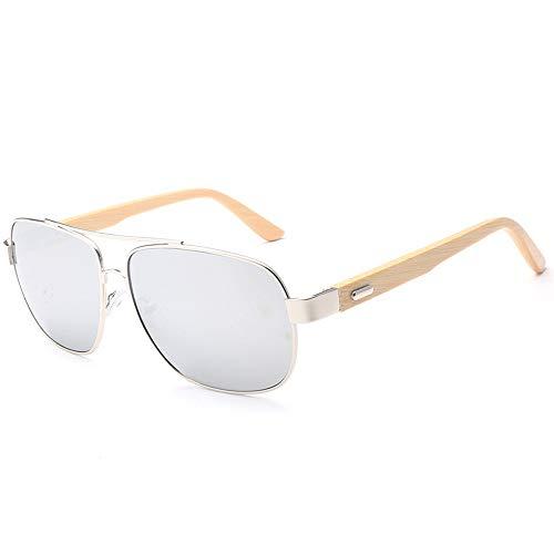Easy Go Shopping Handgemachte Bambusfüße Gläser Metall Nose Bridge Square Sonnenbrille Männer Holz Gläser Sonnenbrillen und Flacher Spiegel (Color : Silber, Size : Kostenlos)