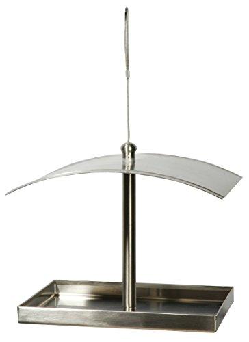 """Luxus-Vogelhaus 11612 Rechteckige Design-Futterstation """"Metallglanz"""" aus Edelstahl zum Aufhängen"""