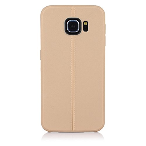 """ImagineDesign(TM) Premium Textured """"Stitch Line Collection"""" Matte Finish Back Case Cover For SAMSUNG GALAXY S6 (Autumn Gold)"""