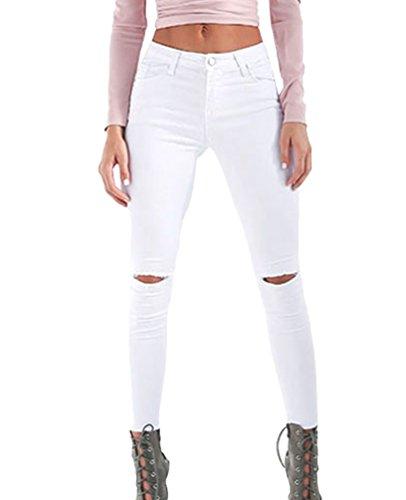 Dooxi donna casuale scarni skinny denim pantaloni eleganti vita alta strappati boyfriend jeans leggings bianca m