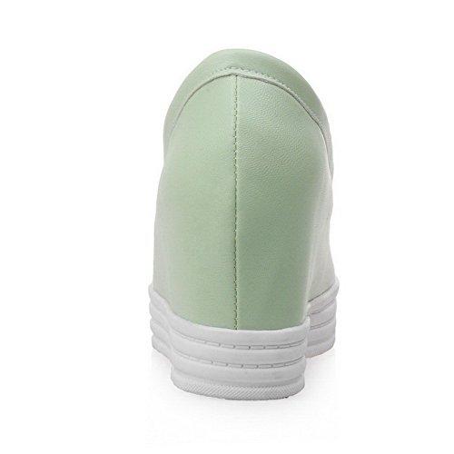AllhqFashion Femme Tire Rond à Talon Haut Pu Cuir Mosaïque Chaussures Légeres Vert