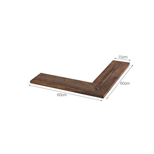 Preisvergleich Produktbild Shelf Doppelseitiges Eckregal, Nordeuropa Massivholz Eckregal, rechtwinklig Zum Wandregal (Farbe : Black Walnut, größe : Große)