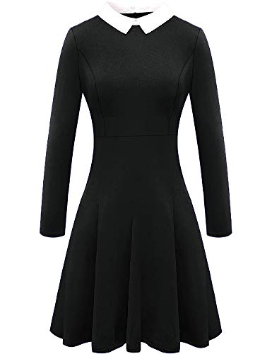 For G and PL Womens Halloween Addams Wednesday Black Long Sleeve Swing Dress