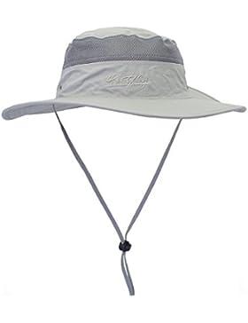 LAOWWO Sombrero Cubo Pescar Excursionismo Sombrero para el Sol Sombrero de ala Ancha UPF 50+ con Correa Ajustable