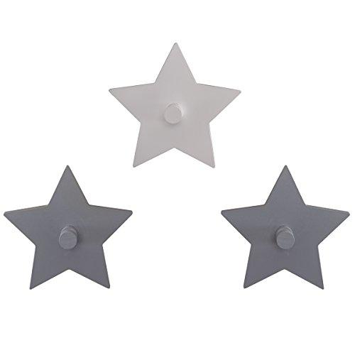 Baby 3er Set Wandhaken hochwertiges Holz Little Stars grau/weiß • Garderobe Kinderzimmer Deko Sterne 3 Stück -