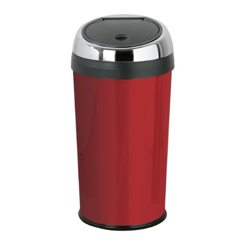 Red Enamel Touch Top Bin With Stainless Steel & Inner Plastic Bucket