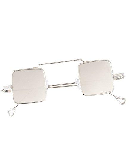 caripe Retro Vintage Sonnenbrille John Lennon Gläser quadratisch verspiegelt + getönt- kvadra5 (silber - silber verspiegelt)