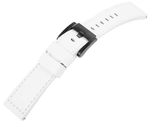 Marc Coblen weißes 22mm Leder Uhren Armband TW Steel Ersatzband Dornschließe