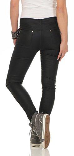 11075 Fashion4Young Damen Röhrenhose Slimline Leder-Look Lederimitat Damenhose Wetlook Hose Schwarz