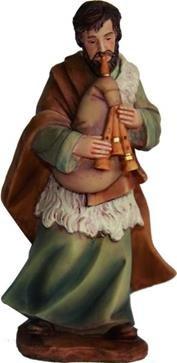 Krippenfiguren Hirte mit Dudelsack, geeignet für 15cm Figuren