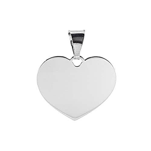 Ciondolo CUORE personalizzabile con incisioni, per collana e bracciale, in argento 925 anallergico.