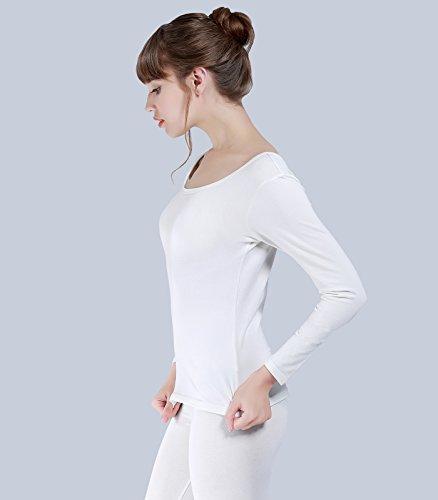 Liang Rou Damen U-Außchnitt dünnes Thermo-Unterwäsche Set, Leggings und Langarmshirt Weiß