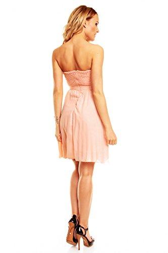 Kurzes Bandeau Kleid mit Spitze, Cocktailkleid, Partykleid, Abendkleid in verschiedenen Farben Rosa