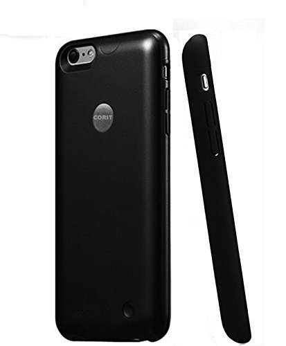 iPhone 6/6s Battery Case, CORST® Slim 2500mAh Akkuhülle Backup Hülle Externer Batterie Power Bank für iPhone 6/6s(Schwarz) (Backup-akku-slim)