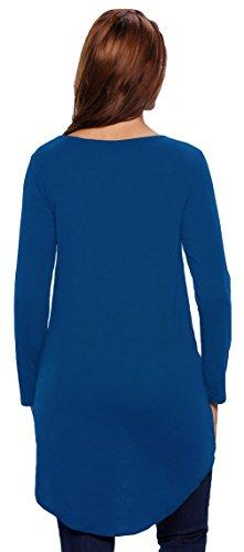 EOZY Irrégulier T-Shirts Blouses Hauts Femmes Printemps Col V Tops Plissé Bleu