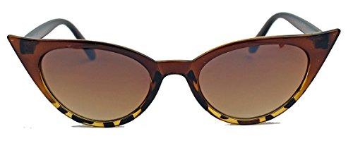 50er Jahre Damen Sonnenbrille Cat Eye Form Katzenaugen Modell FARBWAHL 73 (Cognac Ombre)