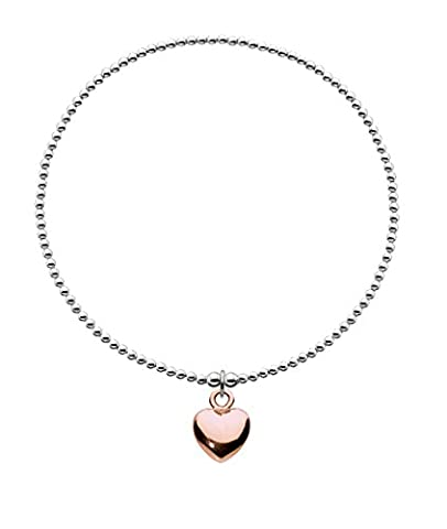 Dew Sterling Silver and Rose Gold Plated Puff Heart Charm