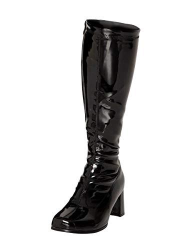 Buckle Shoes BS12733 Damen Schuhe, Retrostiefel, 1960er und 1970er, Schwarz - Schwarz - Größe: EU 40