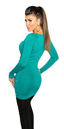 Koucla Robe Légère Robe tricotée Mini-robe avec Rivets Épines Long Pull Robe pull col en V plusieurs couleurs Saphir