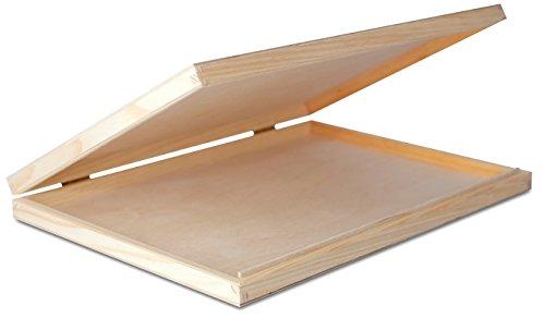 A4 Caja Madera para Decorar | 33,2 x 25,2 x 5,3 cm | con Tapa y Cerradura | Decoracion Almacenaje Herramiente Papel Carta Decoupage Documentos Objetos de Valor Juguetes